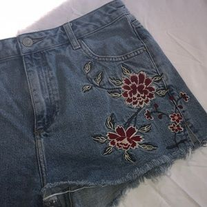 Topshop Moto Floral Embroidered Mom Jean Shorts